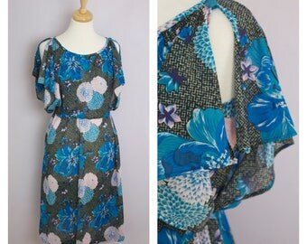 Vintage 1970's Teal Blue Tropical Floral Flutter Split Sleeve Disco Dress S/M