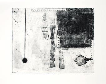 """Untitled - Black and White Collagraph Print - 16x20"""""""