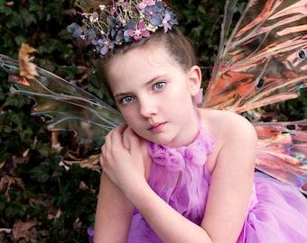 Purple Flower Crown- Fairy Crown- Fairy Costume- Fairy Head Piece- Flower Crown- Fairytale Wedding- Fairy Dress- Hand Fasting- Flower Tiara