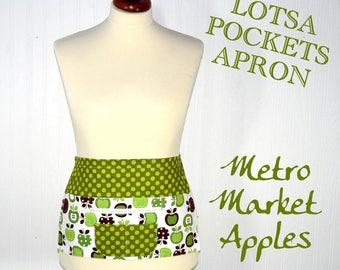 Metro Market Apples Teacher Apron, Vendor Apron, Gardening Apron - 6 pocket half apron with zip pocket for money READY TO SHIP in this size