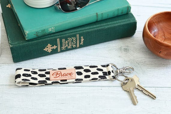 Black and Ivory Key Fob | Key Lanyard with Black Brushstrokes on Cream Background