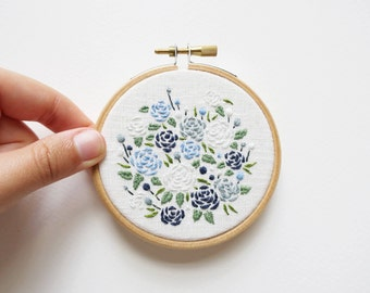 Matisse Blue Roses - Embroidery Hoop Art - 3 inches wide