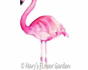 Flamingo art, tropical decor, flamingo watercolor, pink flamingo decor, Florida decor, flamingo party decor, flamingo gifts