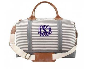 Gray Stripe Monogram Weekender Bag, Monogrammed Overnight Duffle, Personalized Canvas Duffel Bag, Striped Monogram Luggage, Monogram Luggage