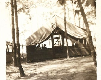 "Vintage Snapshot ""Restful Retreat"" Camping In The Pines Shady Spot Canvas Tent Found Vernacular Photo"