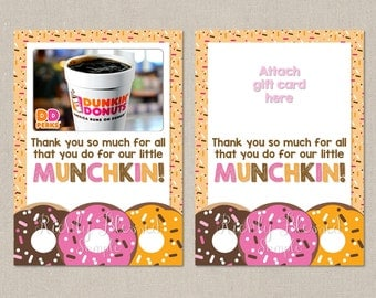 INSTANT DOWNLOAD Dunkin Donuts Inspired Teacher Appreciation Teacher Thank You End of the Year Teacher Gift 5x7 Gift Card DIY Printable