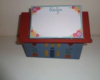 Americana Folk Art Style Hand Made Wooden Recipe Box and Recipe Holder with hand stenciled design on front in bright, vibrant primary colors