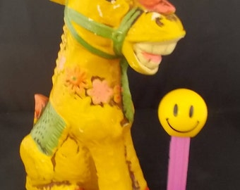 Chalkware Coin Bank - Smiling Cross-Eyed Donkey w/Bird on Nose - National Potteries Cleveland Ohio - Retro Groovy Bank