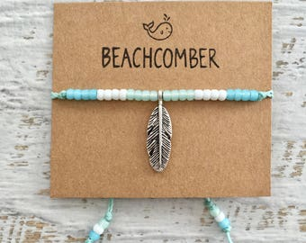 beach anklet, beachcomber boho jewelry, gift for her, feather anklet
