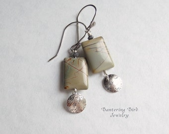 Picasso Jasper Earrings, Blue Stone with Hammered Sterling Silver Charm, Oxidized Silver Disc Drop