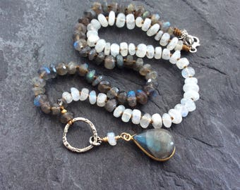 Labradorite and moonstone necklace, 'all grown up', June birthstone necklace, boho necklace, mixed metal jewellery, birthday gift for her