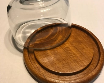 Vintage Round Mid-Century Dolphin Genuine Teakwood Cheese Board with Glass Cloche Bell Jar Cover