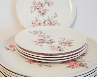 Vintage 13 piece Melmac Durawear Dishware Plates, White With Pink Baby Roses, Green Leaves, Retro Dinner Plates and Salad Plates