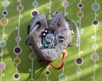 Heart, Shaped, Steampunk, Electronic, Pendant, Stone, Effect, OOAK, Cables, Resistors, Circuit, Board, Art, Life, Digital, Necklace