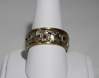 14K Two-Tone Gold Floral Ruby Ring