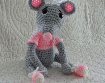 Crochet Amigurumi Mouse, Crochet Mouse, Gray Mouse