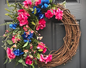Spring Wreaths, Pink Blue Wreath, Pink Wreaths, Door Decor Spring, Pink and Blue Wreaths, Spring Door Wreaths, Gift for Her, Floral Wreath