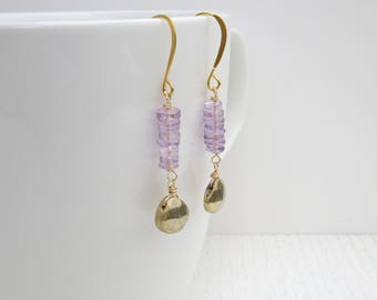 Pyrite drop earrings, Gold amethyst earrings, Pyrite and gold earrings