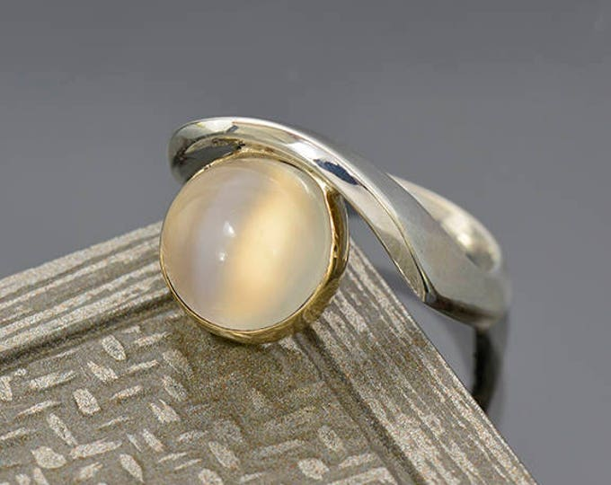 UPRISING SALE! Elegant White Moonstone Ring in Sterlium Silver and 14 kt Yellow Gold