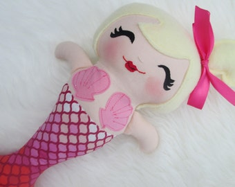Mermaid Doll, baby mermaid, toddler toy, soft mermaid doll, pink scalloped, Made to Order
