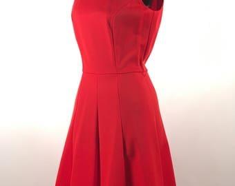 Vintage 1960s Red Dress by Butte Knit Vintage Summer Day Dress Sleeveless Polyester Crew Neck Full Skirt Back Zipper Vintage Polyester Dress