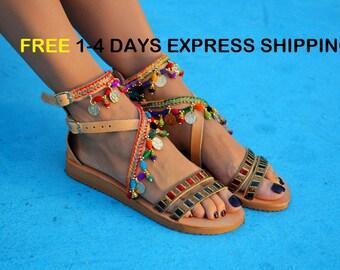 Boho sandals, Greek sandals, Colorful sandals, Handmade leather sandals, Ethnic sandals ''Spell Bound''