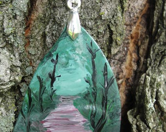 One-of-a-Kind OOAK Hand Painted Upcycled Tumbled Glass Woodland Pendant 46x31mm
