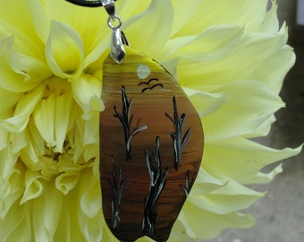 One-of-a-Kind OOAK Hand Painted Upcycled Tumbled Glass Desert 61x31mm