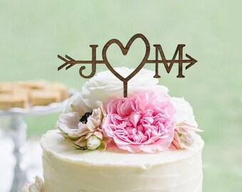 Rustic Wedding Arrow Cake Topper