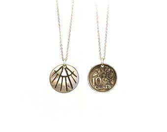 Art Deco necklace. Art Deco charm. Etched coin necklace. Art nouveau charm. Art nouveau necklace. Malaysia charm. Malaysia necklace