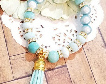 Beaded Bracelet, Tassel Bracelet, Stretch Bracelet, Pastel Beaded Bracelet, Handmade Custom, Women's Jewelry, Bridesmaids