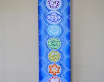 "Chakra Painting - Spiritual Art - Yoga Painting - Yoga - Chakras - Spiritual Painting - 12"" x 36"" x 1 1/2"" -Chakra Art - Meditation Art"