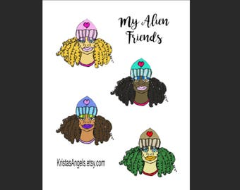 My Alien Friends ~ Stay Curly Printable Sticker Sheet