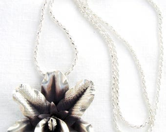 Fine Silver Orchid Necklace, Cattleya Necklace, Fine Silver Flower Necklace, Silver Orchid Pendant Necklace on Sterling Silver Chain