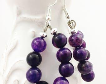 Violet earrings, Purple hoop earrings, Amethyst earrings, Large hoop earrings, Purple bead earrings, Purple dangle earrings