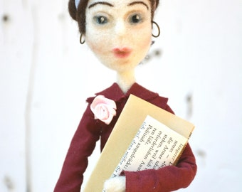 Simone de Beauvoir inspired art doll, fiber art selfie doll, woman portrait, feminine icon figure, feminist puppet, women's rightist,