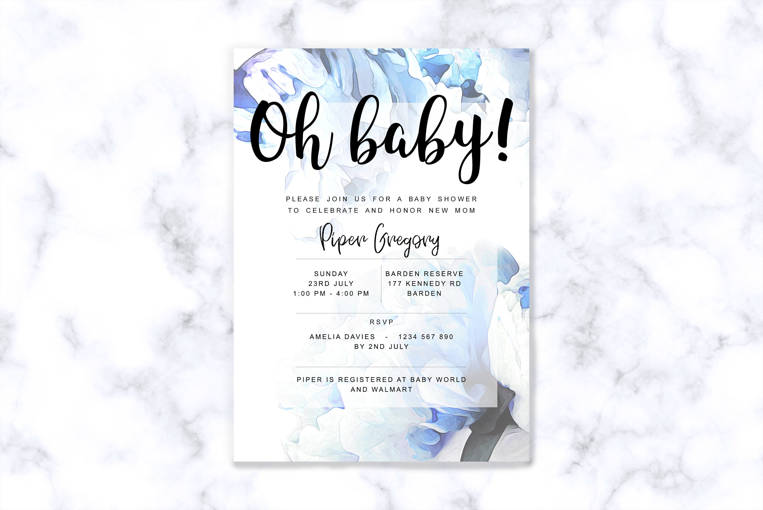 Printable baby shower invitations instant downloadable editable pdf filmwisefo Choice Image
