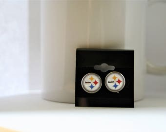 12mm Pittsburgh Steelers Stainless Steel Glass Domed Post Earrings Unisex