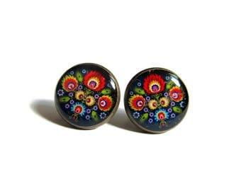BOUCLES D'OREILLES MANDALA multicolore, bleu, puces d'oreilles folk, gypsi, bijoux mandala, multicolore, rosace,fleur, Inde,résine résine
