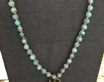 Semi-precious stone Necklace with Honey Bee and Vintage Clock