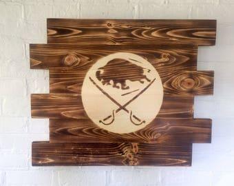 Buffalo Sabres Hockey wood sign- Man Cave Sign