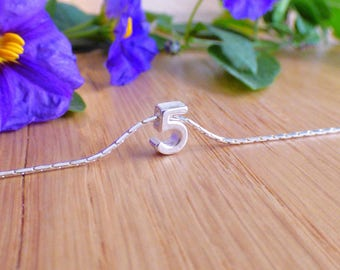 100% Sterling Silver Number Necklace, Birthday Necklace, Personalized Number Necklace, Sports Necklace, Initial Necklace