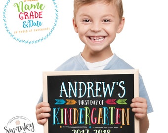 Printable Back To School Sign, Boy First Day of School Sign, Chalkboard School Sign, First Day of Preschool Sign, First Day Photo Prop