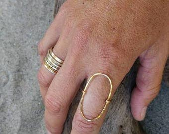 Large Oval Ring, Gold Ring, Hammered, Simple, Statement Ring, Gold Fill, Circle