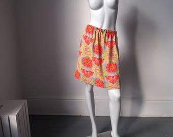 Vibrant 1990s / 90s Vintage Quirky Eccentric Bright All Over Graphic Floral Print Pattern Cute Handmade Elastic Waist Skirt {28W - 40W}