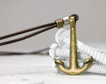 Men Necklace - Men Anchor Necklace - Men leather Necklace - Men Brass Necklace - Men Jewelry - Men Gift - Boyfriend Gift - Husband Gift