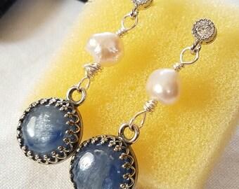 Silvery Blue Kyanite And Freshwater Pearl Dangle Earrings Cubic Zircon Stud Earrings Sterling Silver Posts JBB Crown Bezel Stone Jewelry