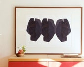 Large Wall Art Print, Abstract Heads, Fine Art Painting, Modern Interior Black and White Print