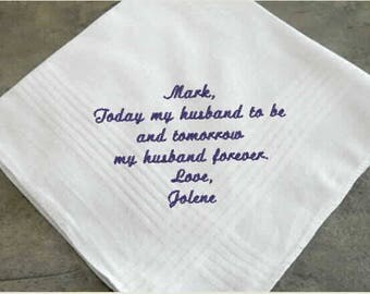 Wedding Handkerchief for the Groom, father of the bride, father of the groom, groomsman's gift, wedding party gift, mans handkerchief,
