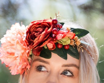 SALE Coral and Red Wedding Flower Hair Crown, featuring Coral Peony, Red Ranunculus, Red Berries, Cherry Blossoms, Greenery and Gold Accents